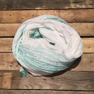 Schal mit Fransen Türkis