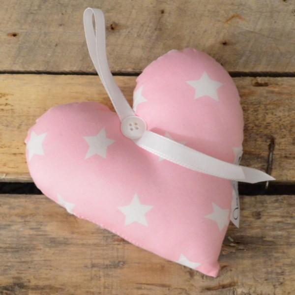 Herzkissen - rosa Sterne
